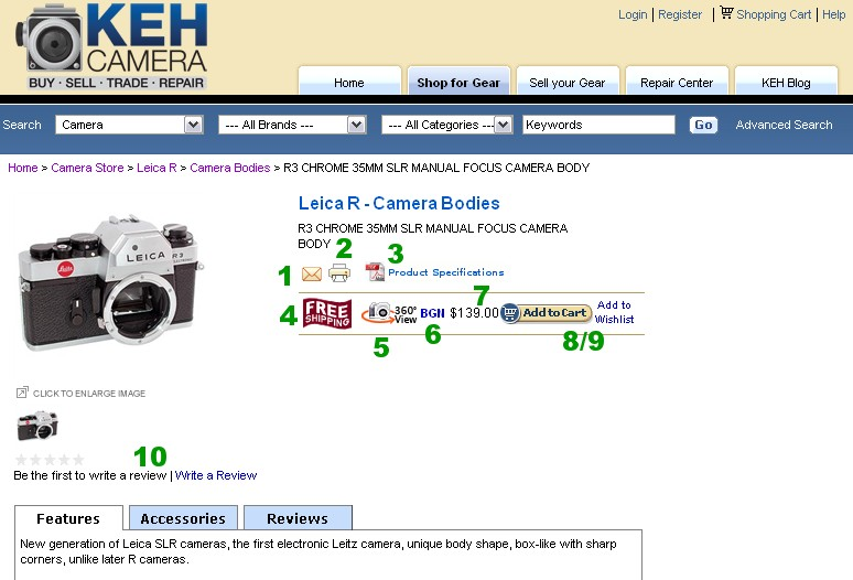 Anatomy of a KEH.com Product Page