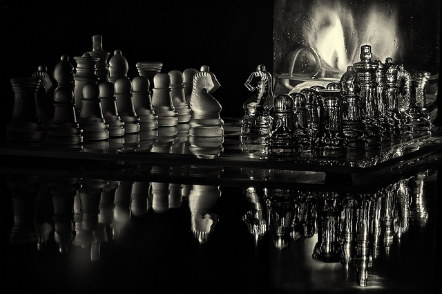 chess by candlelight b&w