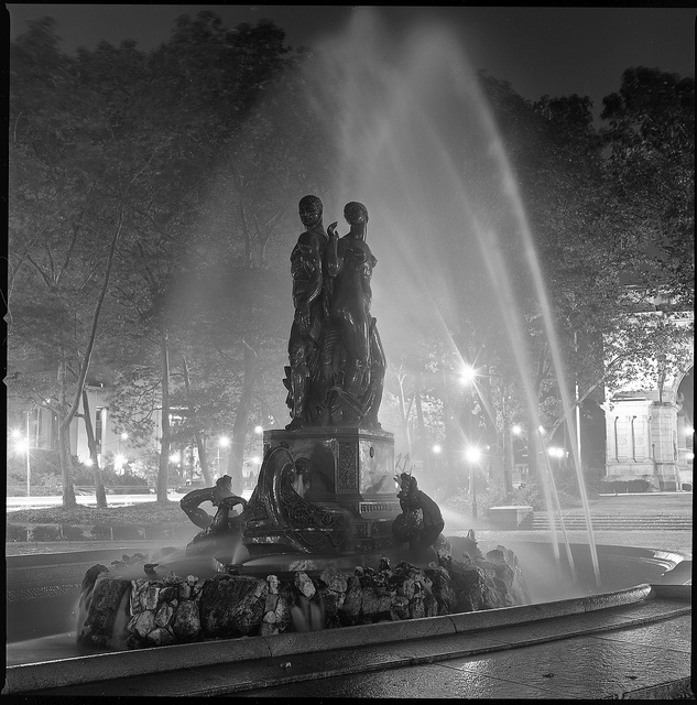 Grand Army Fountain at Night, Brooklyn